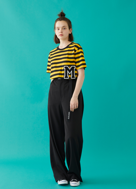 [MSKN2ND]M PATCH STRIPED SS T-SHIRT YELLOWE