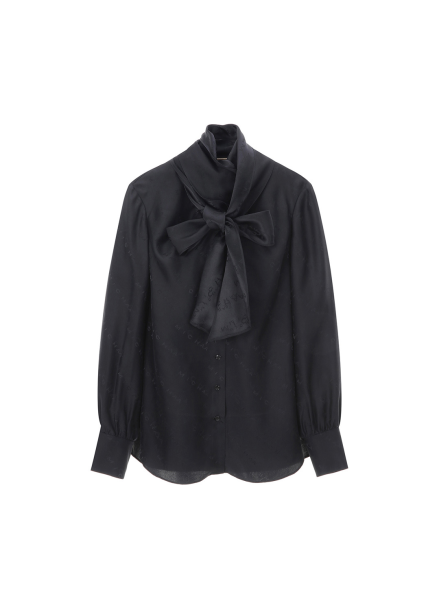 Solid Ribbon Tie Blouse