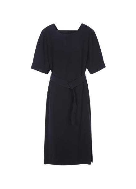 Round Neck Belt Half Sleeve Dress