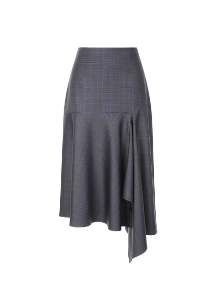 Check Pattern Unbalance Skirt