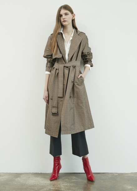 Check Patterned Trench Coat