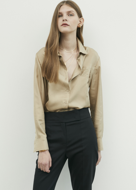 Side Button Point Silk Blouse