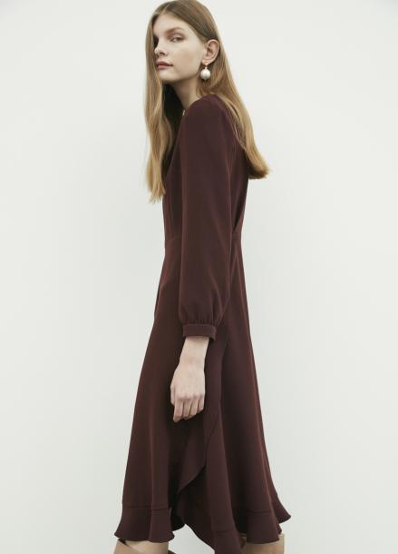 Shirring Sleeve Frill Dress