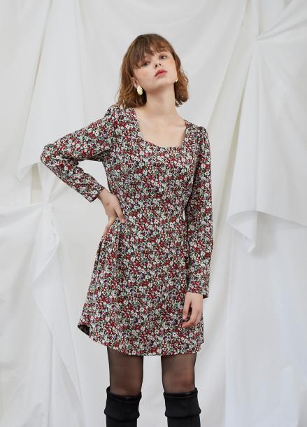 [5%할인/SALON DE YOHN] Floral Puff Shoulder Dress