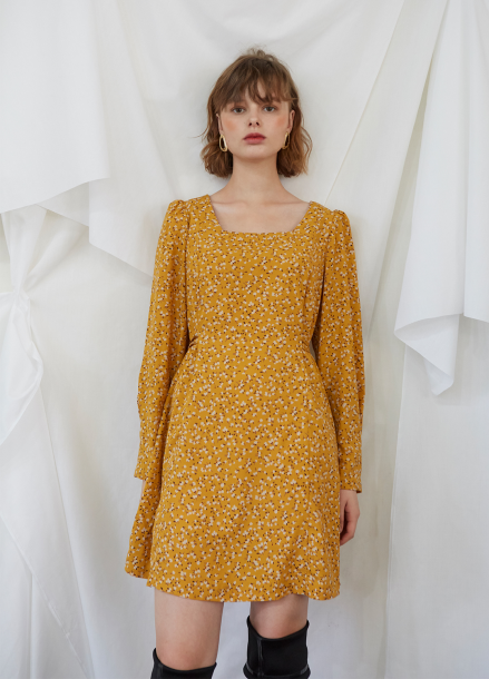[5%할인/SALON DE YOHN] Yellow Puff Shoulder Dress