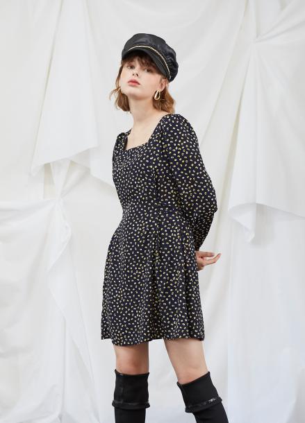 [5%할인/SALON DE YOHN] Navy Dot Puff Shoulder Dress
