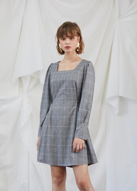 [5%할인/SALON DE YOHN] Check Puff Shoulder Dress