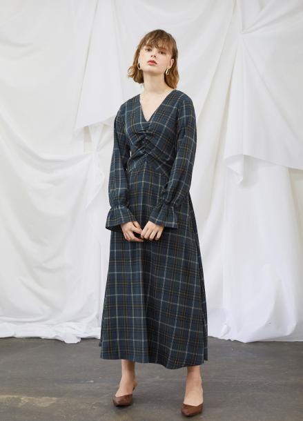 [5%할인/SALON DE YOHN] Check Long Flare Dress