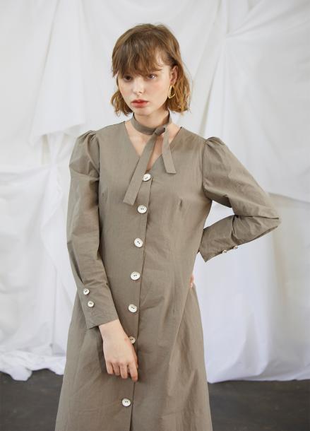 [5%할인/SALON DE YOHN] Ash Khaki Midi Dress
