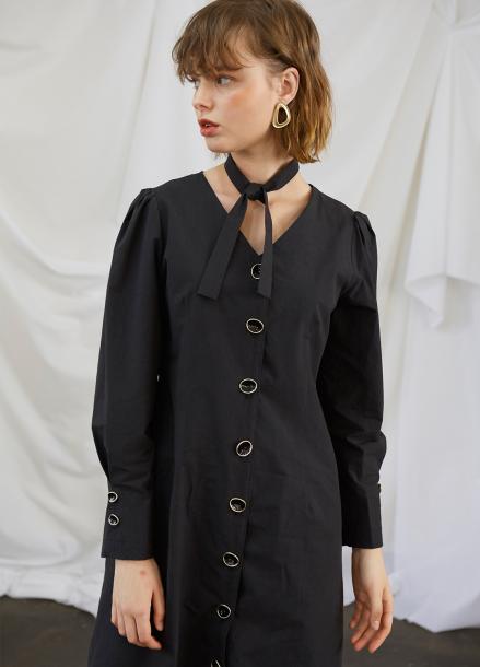 [5%할인/SALON DE YOHN] Black Midi Dress