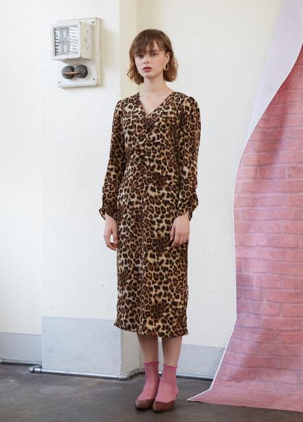 [5%할인/SALON DE YOHN] Midi Shirring Dress-Leopard