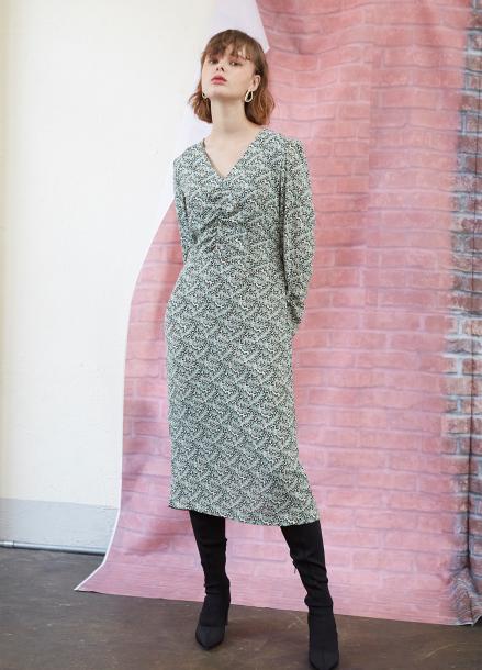 [5%할인/SALON DE YOHN] Midi Shirring Dress-Leaves
