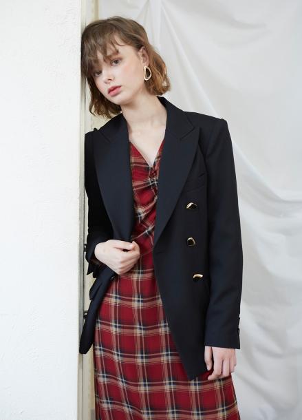 [5%할인/SALON DE YOHN] Midi Shiring Dress-Check