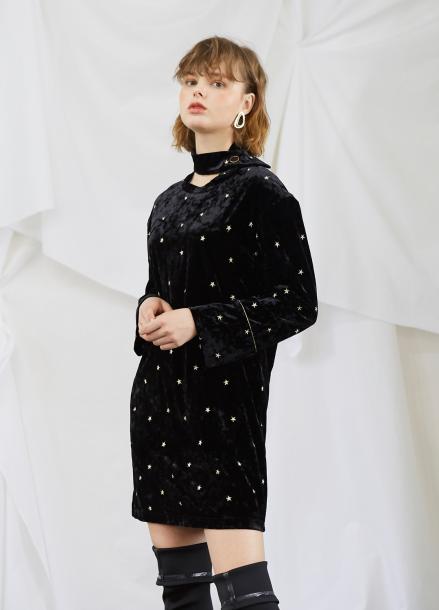[5%할인/SALON DE YOHN] Gold Star Velvet Dress