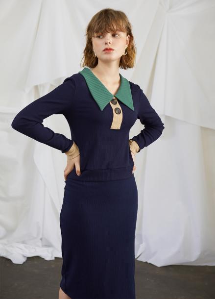 [5%할인/SALON DE YOHN] Color Block Jersey Dress (set)