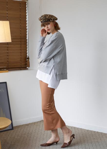 [5%할인/SALON DE YOHN] Buntto Stitching Skirt_ 2colors(Brown,Black)