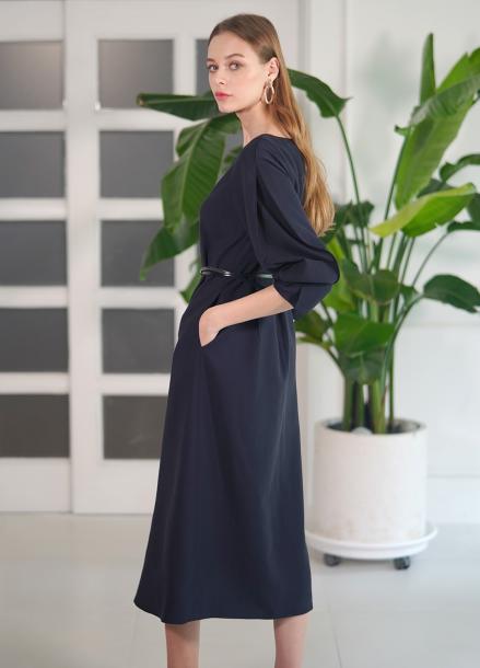 [단독 10%할인/PINBLACK]CLASSIC RUFFLE DRESS NAVY