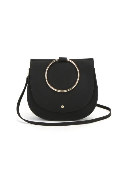 Melisa Ring Suede Handbag_Black