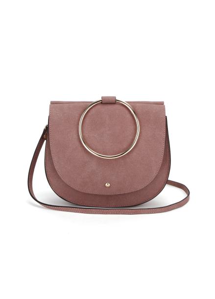Melisa Ring Suede Handbag_Indipink