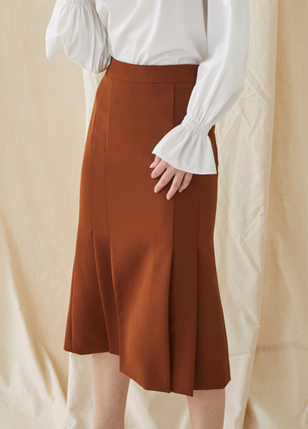 [MILLOGREM/10%할인] Mermaid Pleated Skirt - red brown