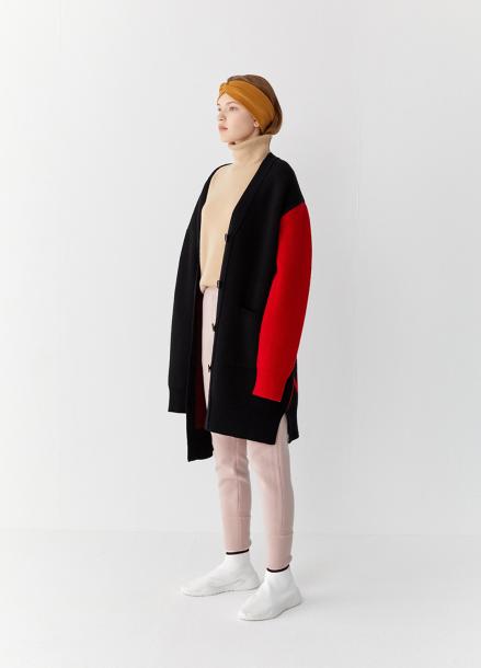 [5%할인/TEETH OFFICE] TEETHOFFICE Lamswool Black & Red Oversize Cardigan