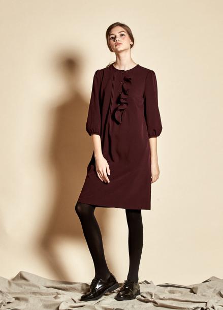 [5%할인/The Kstory] Slim Ruffle Dress_ Purple
