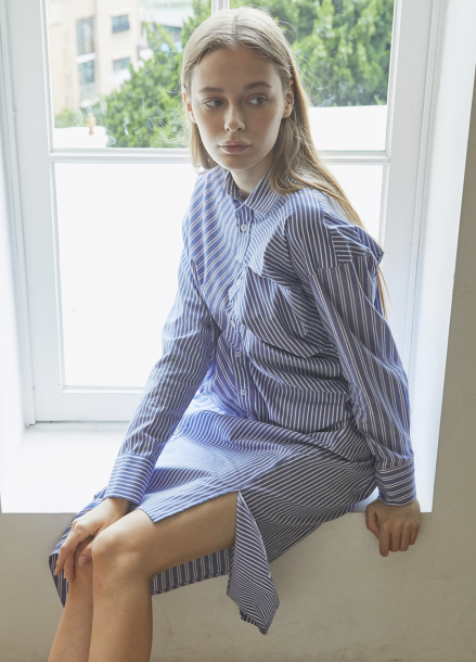 [5%할인/JUST IN STYLE] Unbalance stripe shirts one-piece_BLUE