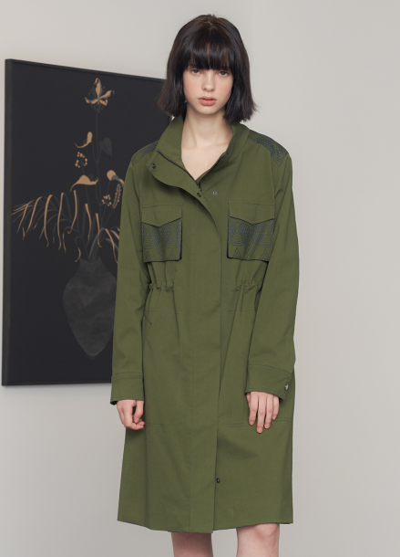[70%할인/JBREFINE] KHAKI POCKET PRINTED TRENCH COAT