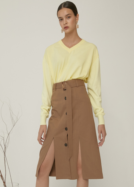 [5%할인/ADDSENSE] BRENCH SKIRT_BROWN