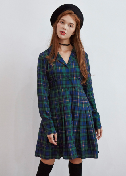 [5%/VEMVER] PLEATS POINT CHECK ONEPIECE