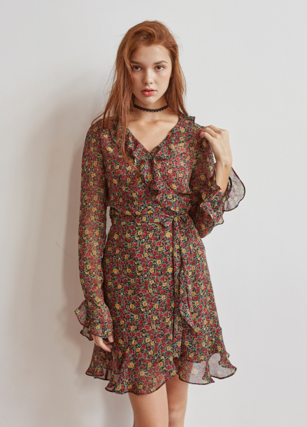 [5%/VEMVER] RUFFLE POINT FLORAL WRAP ONEPIECE
