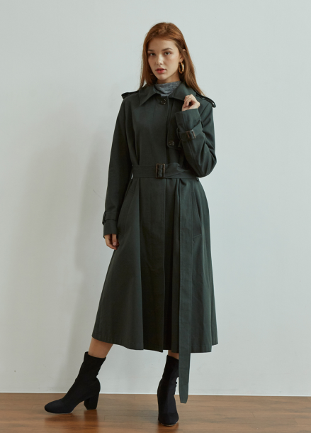 [5%/VEMVER] SINGLE BUTTON TRENCH COAT_DEEP GREEN