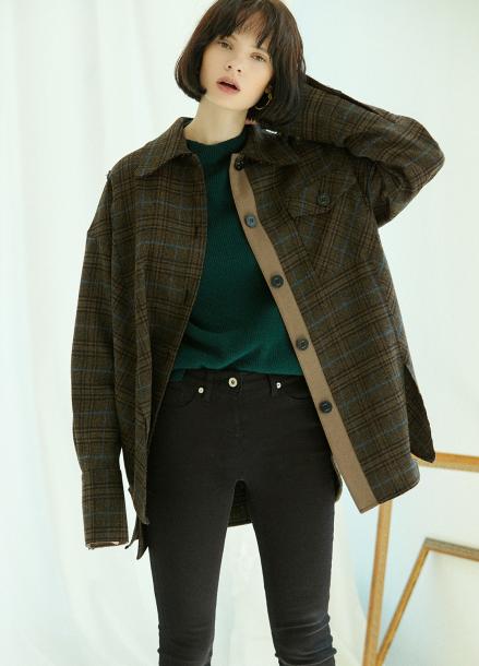[5%할인/CLUE DE CLARE] slit detail oversize shirt Brown