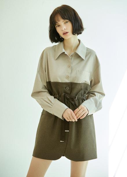 [5%할인/CLUE DE CLARE] half jacket onepiece Brown