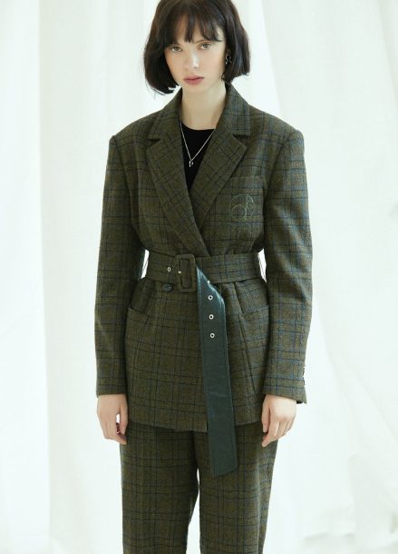 [5%할인/CLUE DE CLARE] oversized belted jacket Khaki
