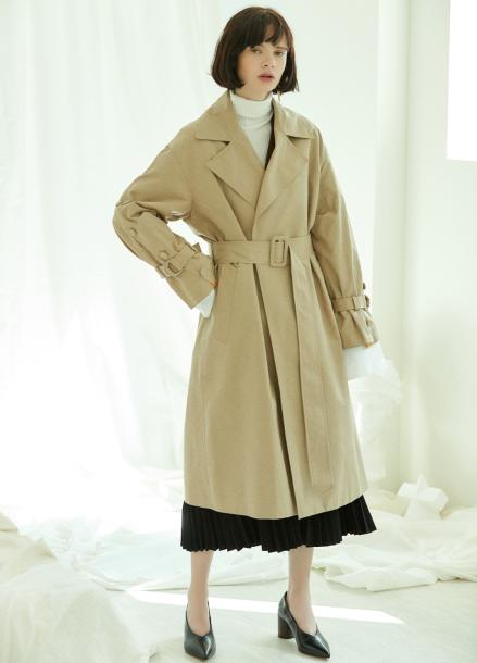 [5%할인/CLUE DE CLARE] placket sleeve trench coat Beige