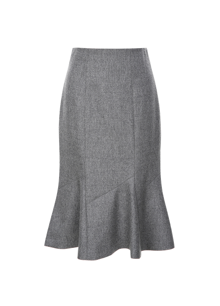 Wool Blended Peplum Skirt