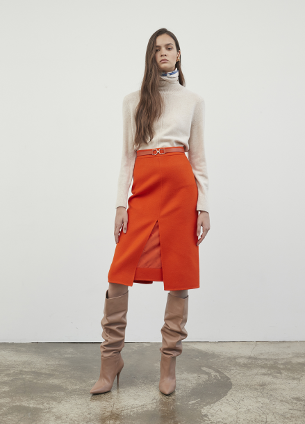 Front Slit Orenge Skirt