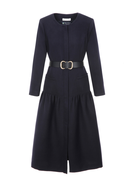 Cashmere Blended Belt Dress