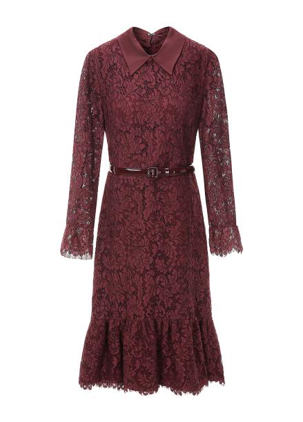 Shirring Slim Lace Dress