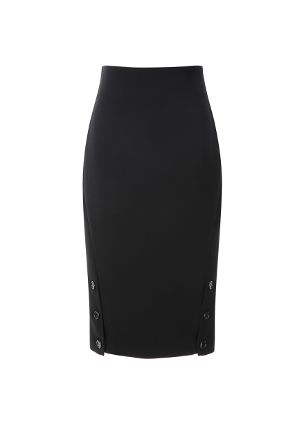 Button Slit Pensil Skirt
