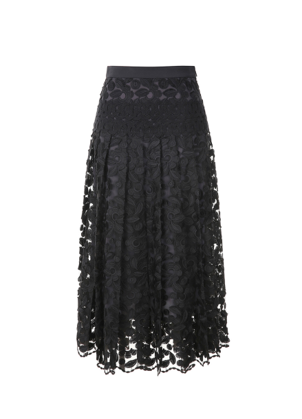 Pleats Lace Long Skirt