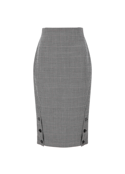 Button Slit Glen Check Skirt