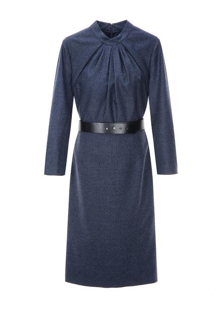 Neck Crease Detail Belt Dress