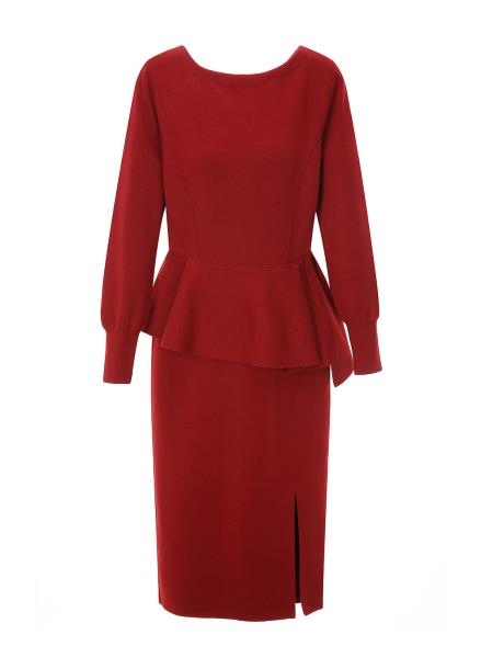 Waist Peplum Wool Dress