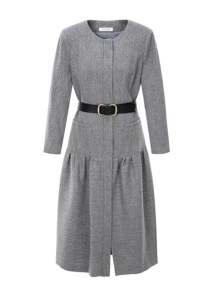 Wool Blended Belt Dress
