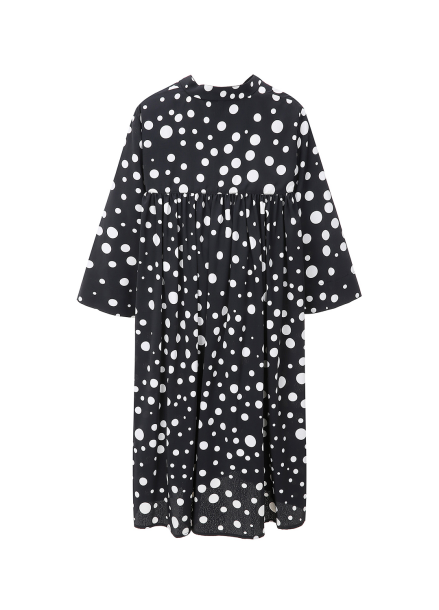 Dot Open Collar Flare Dress