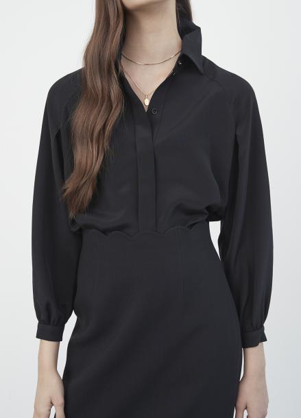 Hidden Button Silk Blouse