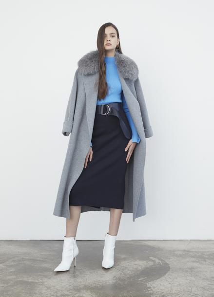 Fox Fur Wide Sleeve Over Fit Coat