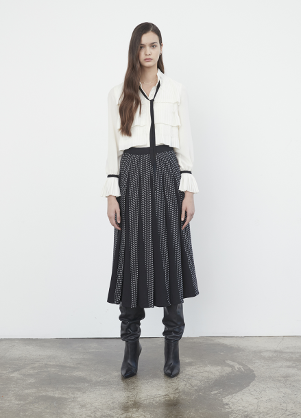 Geometric Collaboration Panel Pleats Skirt